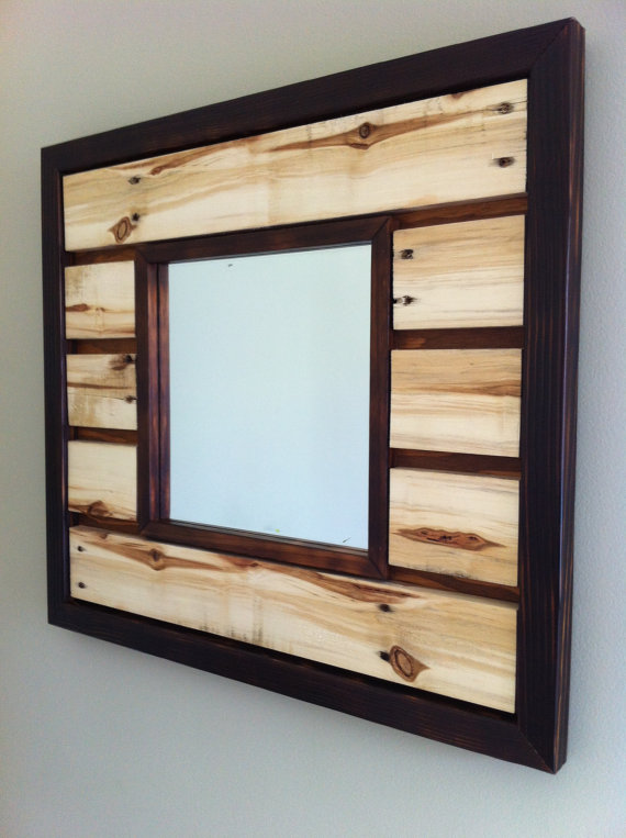Wall Mirror - Reclaimed Pallet Wood Bombe de peinture, Brule et - peinture en bombe pour bois