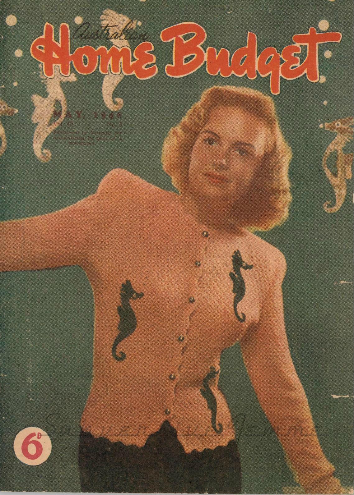 Subversive Femme: Free Knitting Pattern: 1940's Novelty Seahorse Jacket (Home Budget 1948)