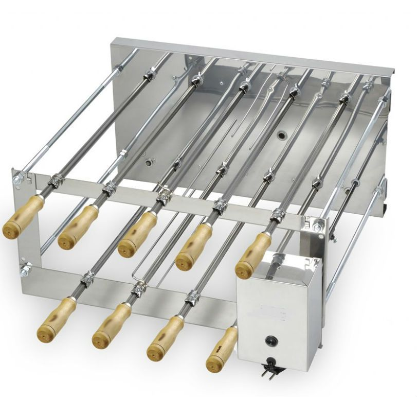Brazillian Churrasco Rotisserie Grill with 9 skewers.