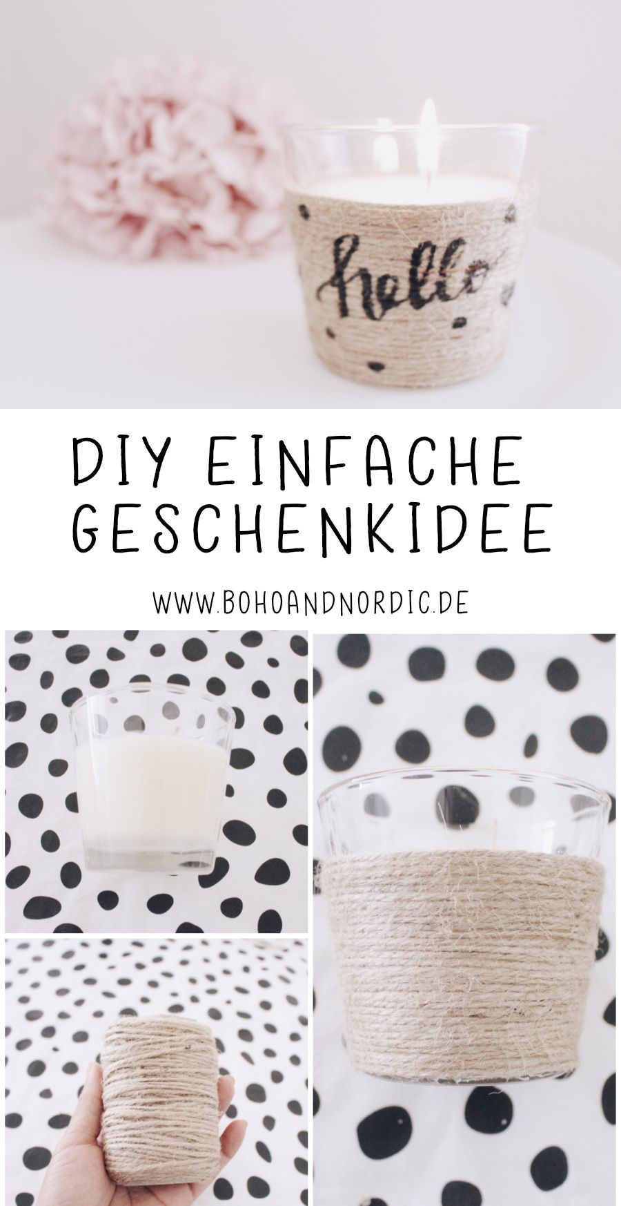 DIY simple gift idea – give away a scented candle in a glass  – Ideen von Boho and Nordic