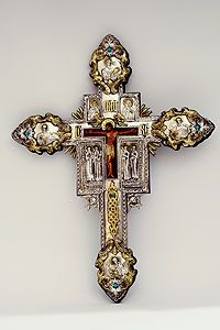 Large Wall Crucifix with Turquoise Stones
