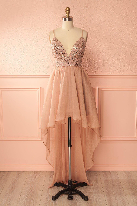 3dce66cfba8 Blush sequin and crepe high-low gown - Robe de soirée asymétrique rose pâle  à paillettes et crêpe
