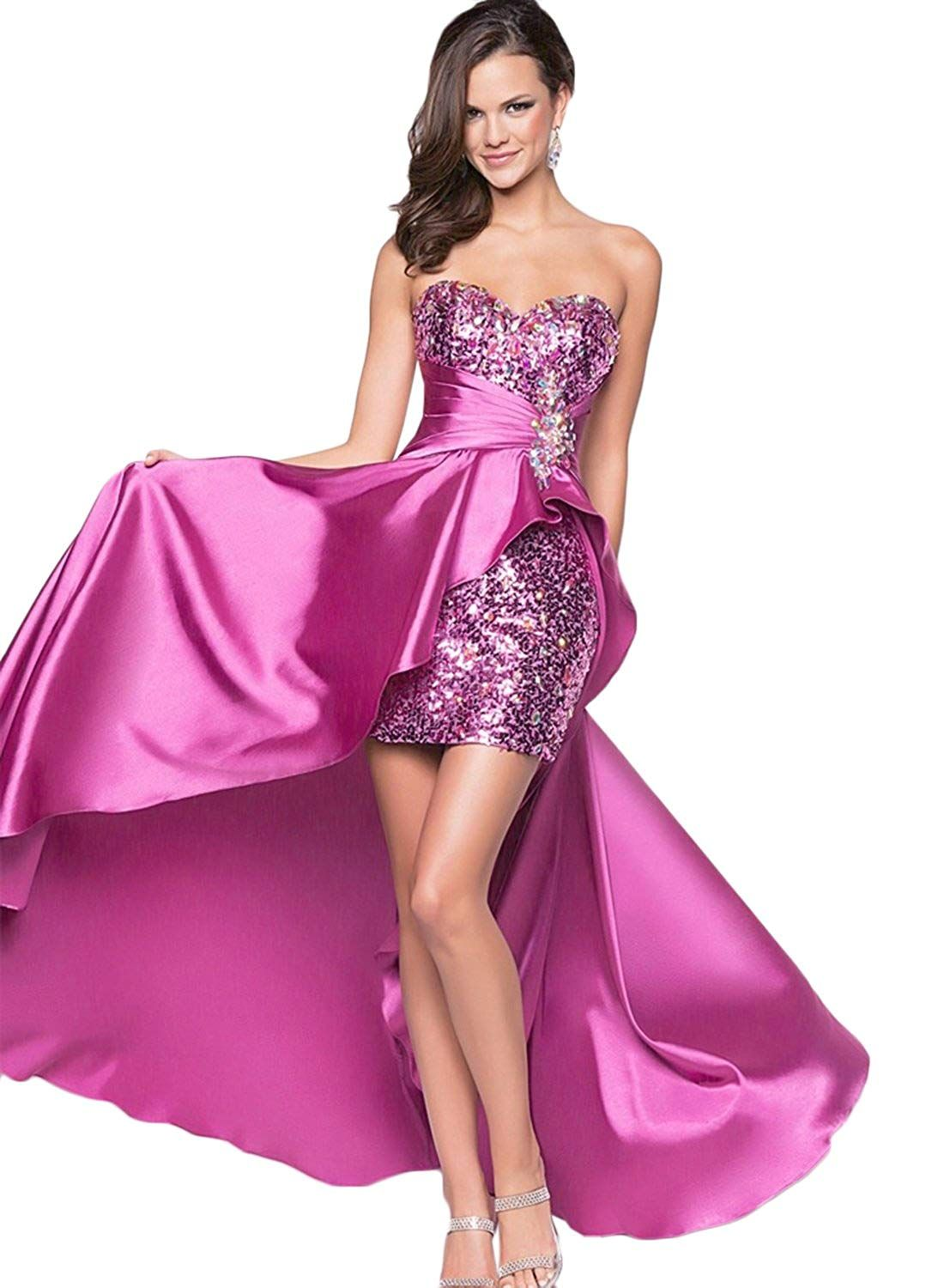 bbe72b609bf6 Azbro Women's Strapless High Low Sequin Prom Evening Bridesmaid Long Maxi  Dress *** To view further for this item, visit the image link.