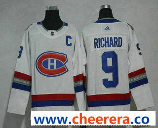 Men s Montreal Canadiens  9 Maurice Richard White Authentic 2017 100  Classic Stitched NHL Jersey 7acd05b37