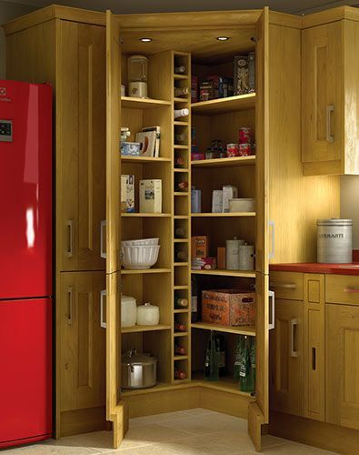 Image result for corner cupboards kitchen kombuise for Oak kitchen larder units
