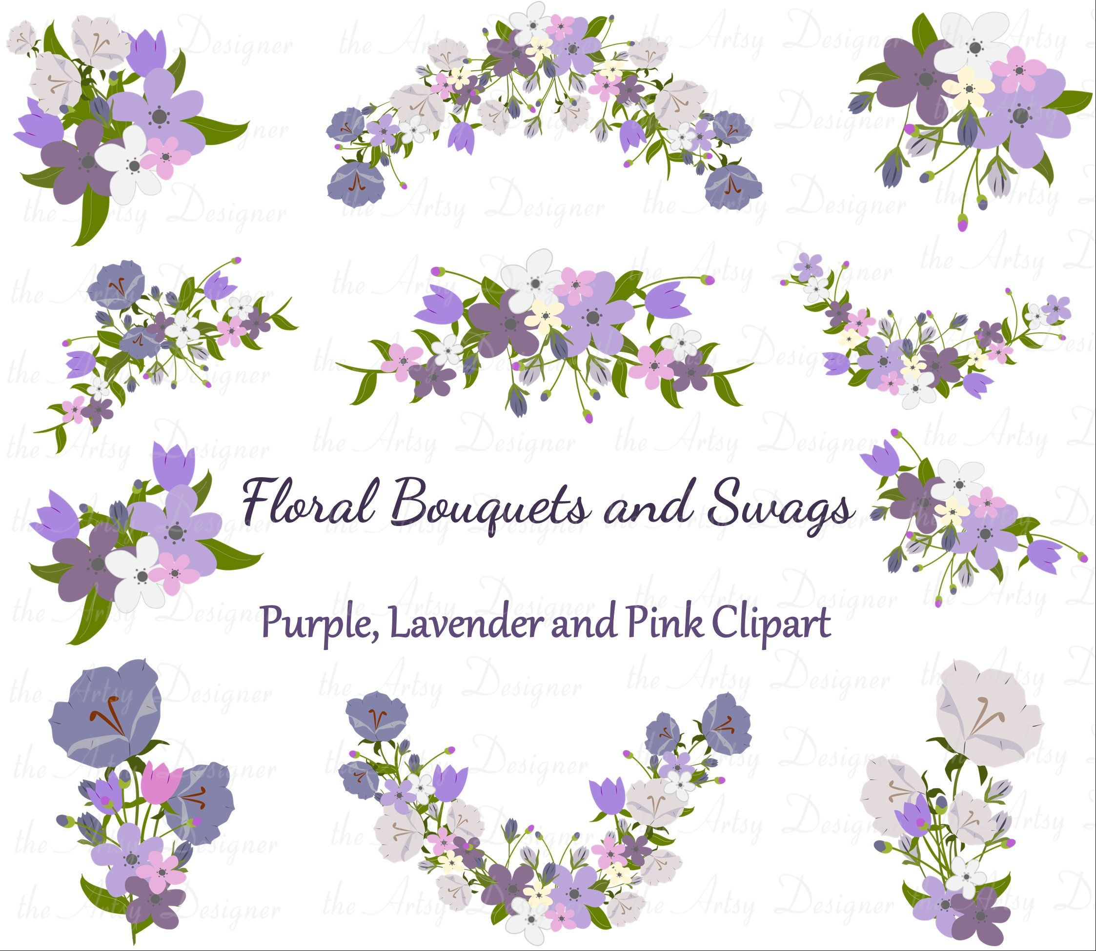 Flower Bouquet Clipart Wedding Clipart Purple Lavender Pink Etsy Wedding Clipart Clip Art Bouquet