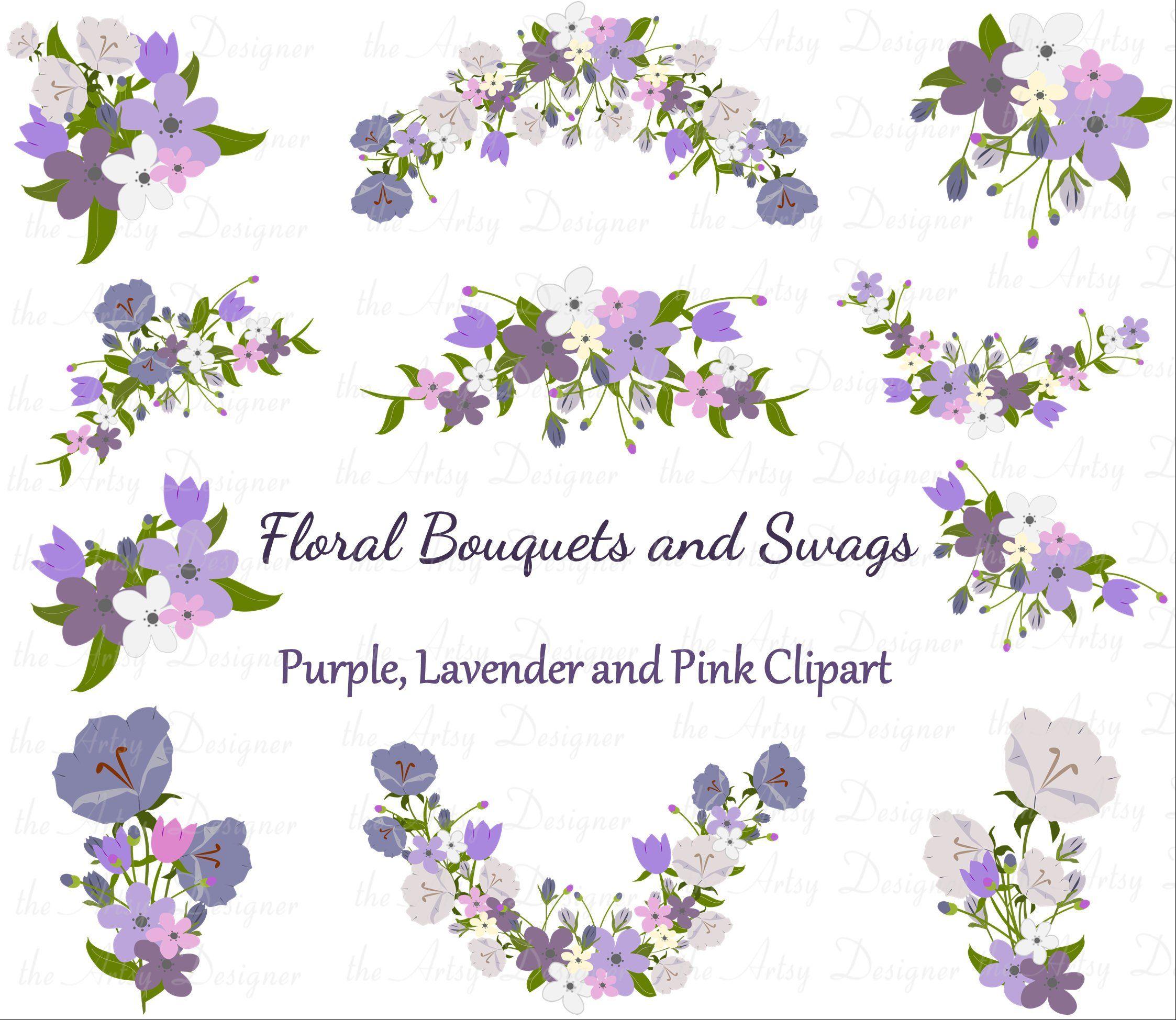 Flower Bouquet Clipart, Wedding Clipart, Purple Lavender