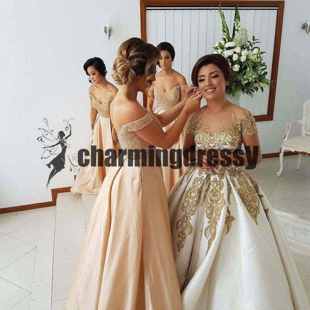 Long gorgeous short sleeves gold lace handmade beautiful wedding