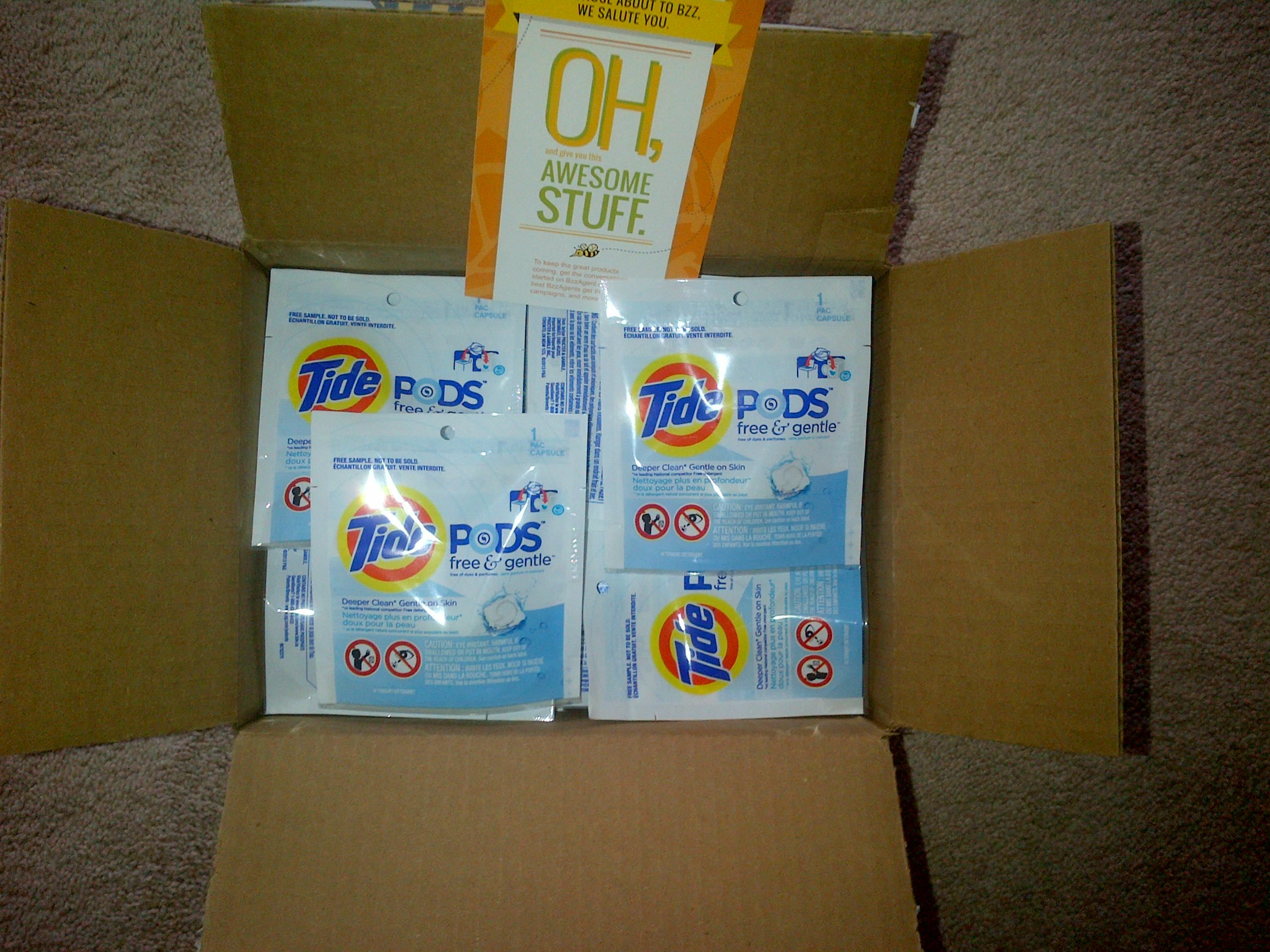 My first #bzzagent box full of free samples of tide free and gentle ...