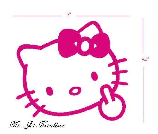20febaf85 HELLO KITTY MIDDLE FINGER FLIP OFF BOW CAR TRUCK SUV DECAL STICKER..NEW