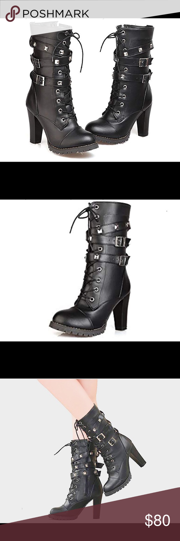 0831 Women's Mid Calf Leather Boots High Women's Mid Calf Leather Boots High Heel Lace Up Military Buckle Motorcycle Cowboy Ankle Booties About this item  leather-and-rubber Manmade Antiskid and Durable Soft Leather High Quality,Fashionable & Comfortable high heels / mid-calf / round-toe Heel Height:3.5