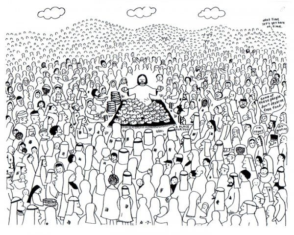 Free Coloring Jesus Feeds 5000 Bible Coloring Pages Bible Crafts Coloring Pages