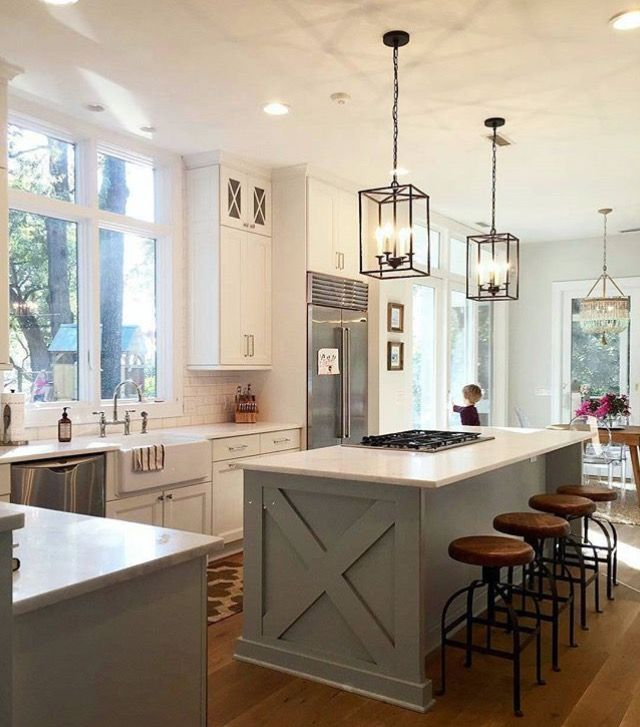 Farmhouse Kitchen Island With Seating: * Many Large Windows, White On White ( Don't Care For The