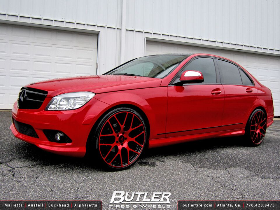 Red Rimed Red Mercedes Benz W204 Mercedes C300 Mercedes Custom