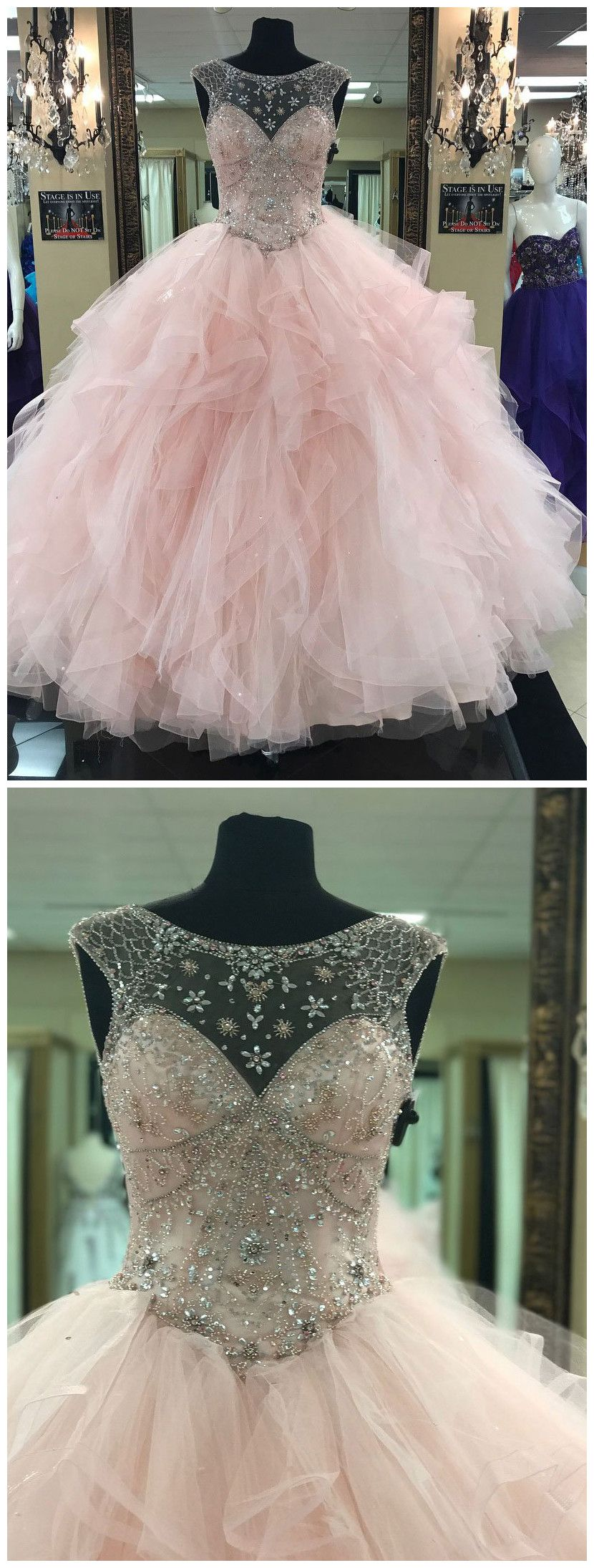 ball gowns prom dresses long pink scoop tulle modest prom dress