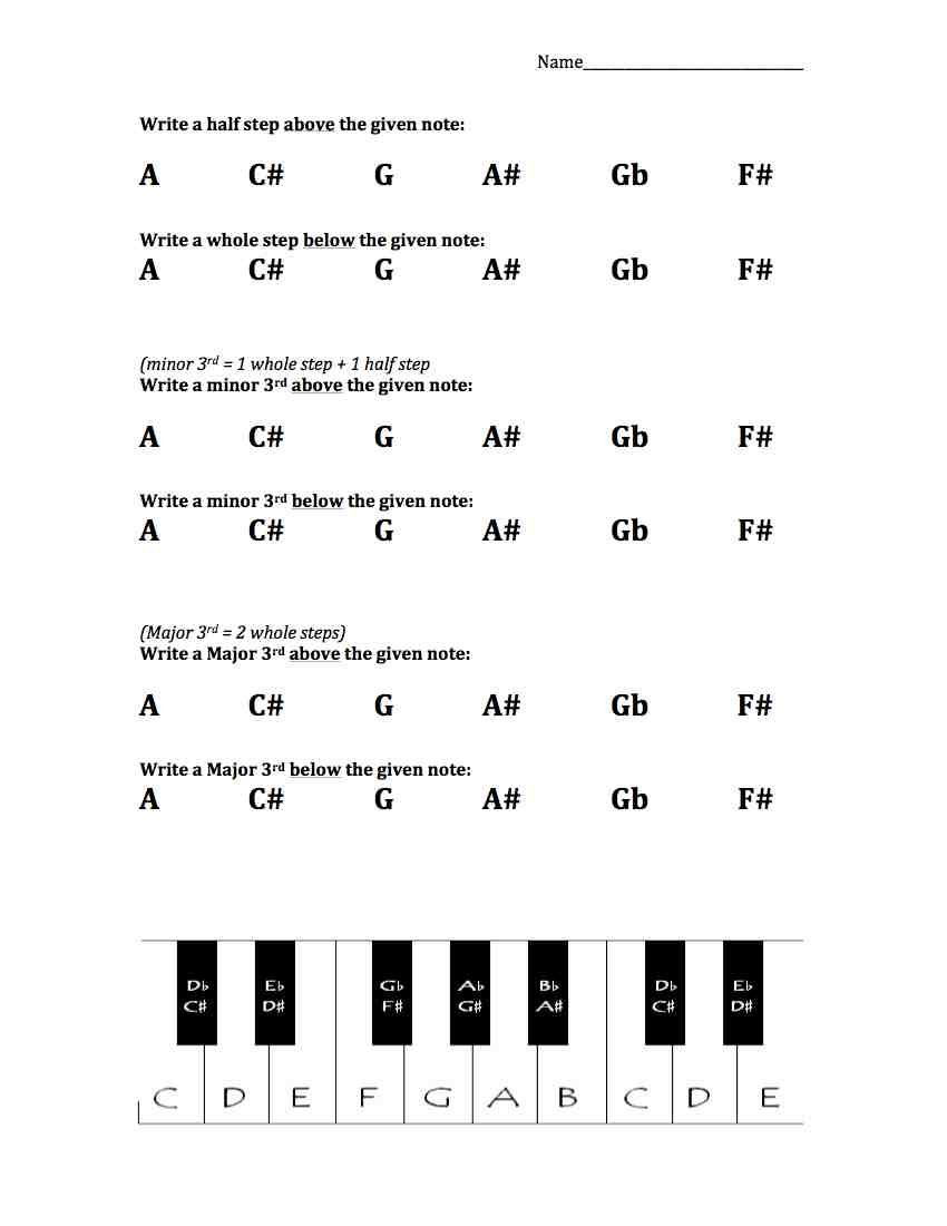 worksheet Step 1 Worksheet whole steps and half worksheet worksheets free sheet music worksheet