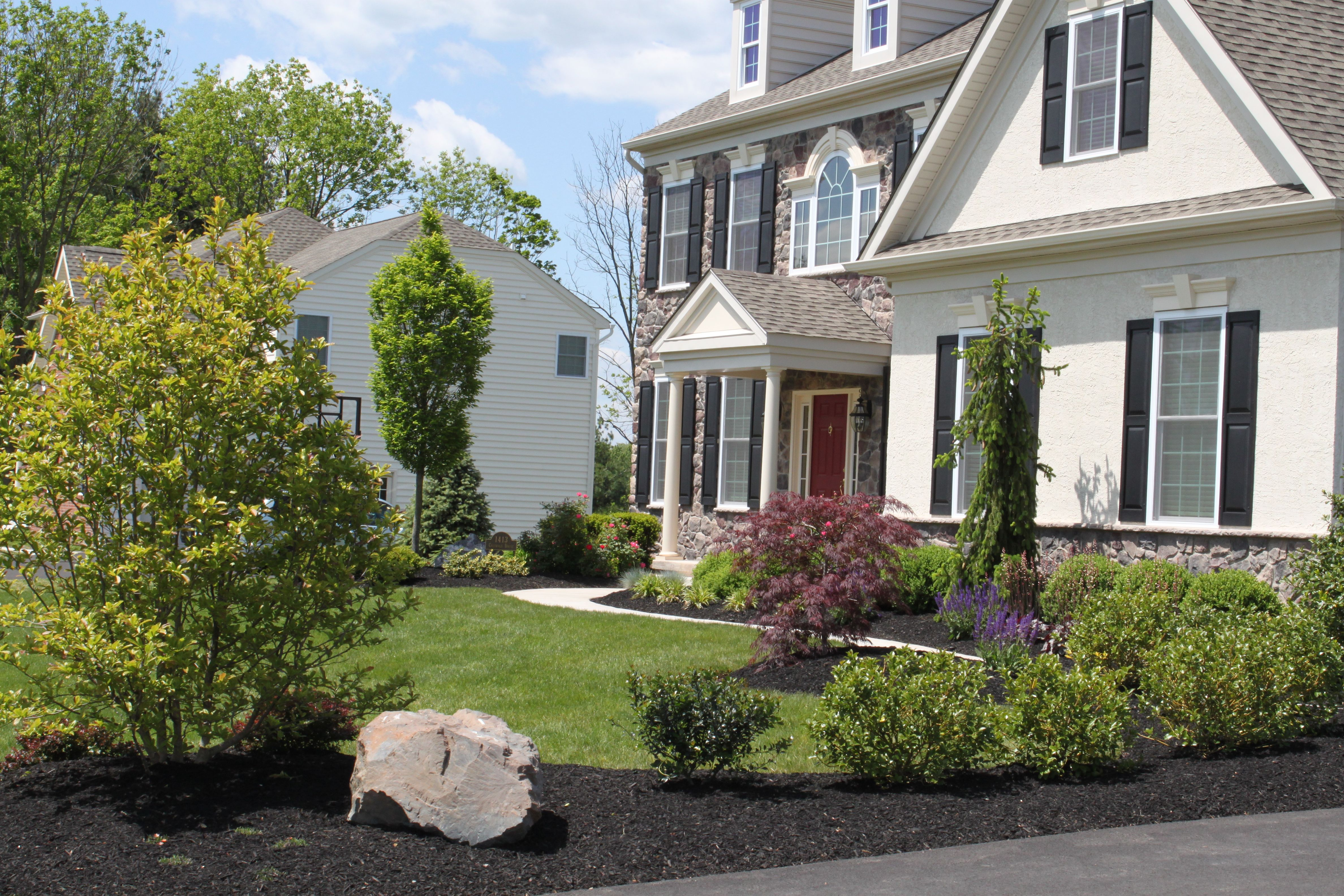 Front Landscape Design Using Japanese Maple Tree Star Magnolia