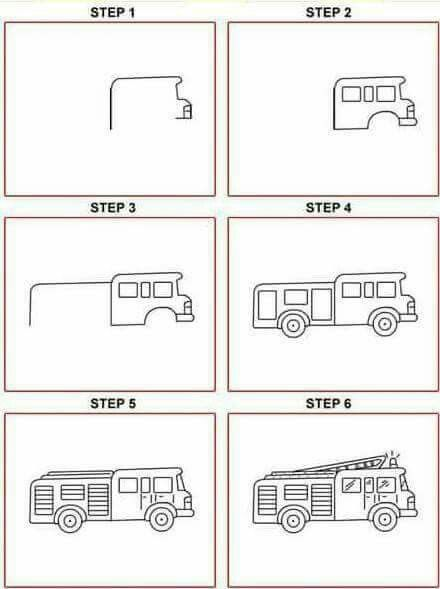 How To Draw A Fire Truck : truck, Engine, Drawing, Kids,, Sketch,, Tutorial
