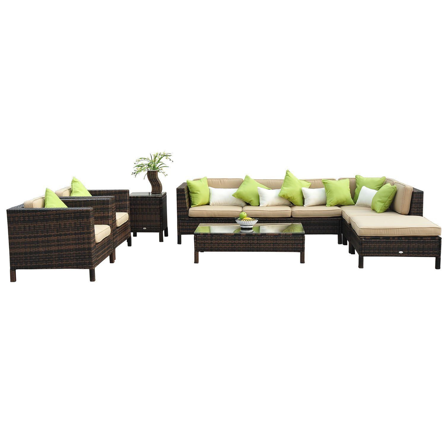 outsunny 37 tlg luxus polyrattan gartenm bel set lounge garnitur mit zwei. Black Bedroom Furniture Sets. Home Design Ideas