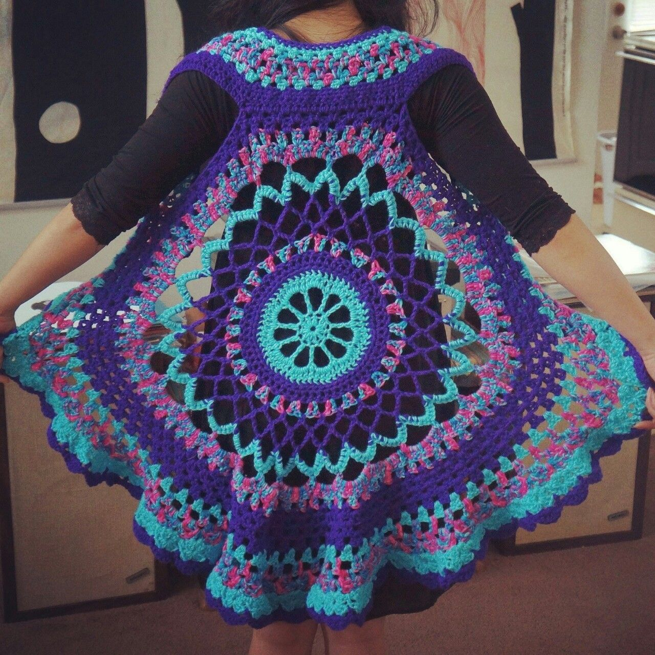 Crocodile Smile Shop — Crochet Mandala vest | Crochet shrugs /wraps ...