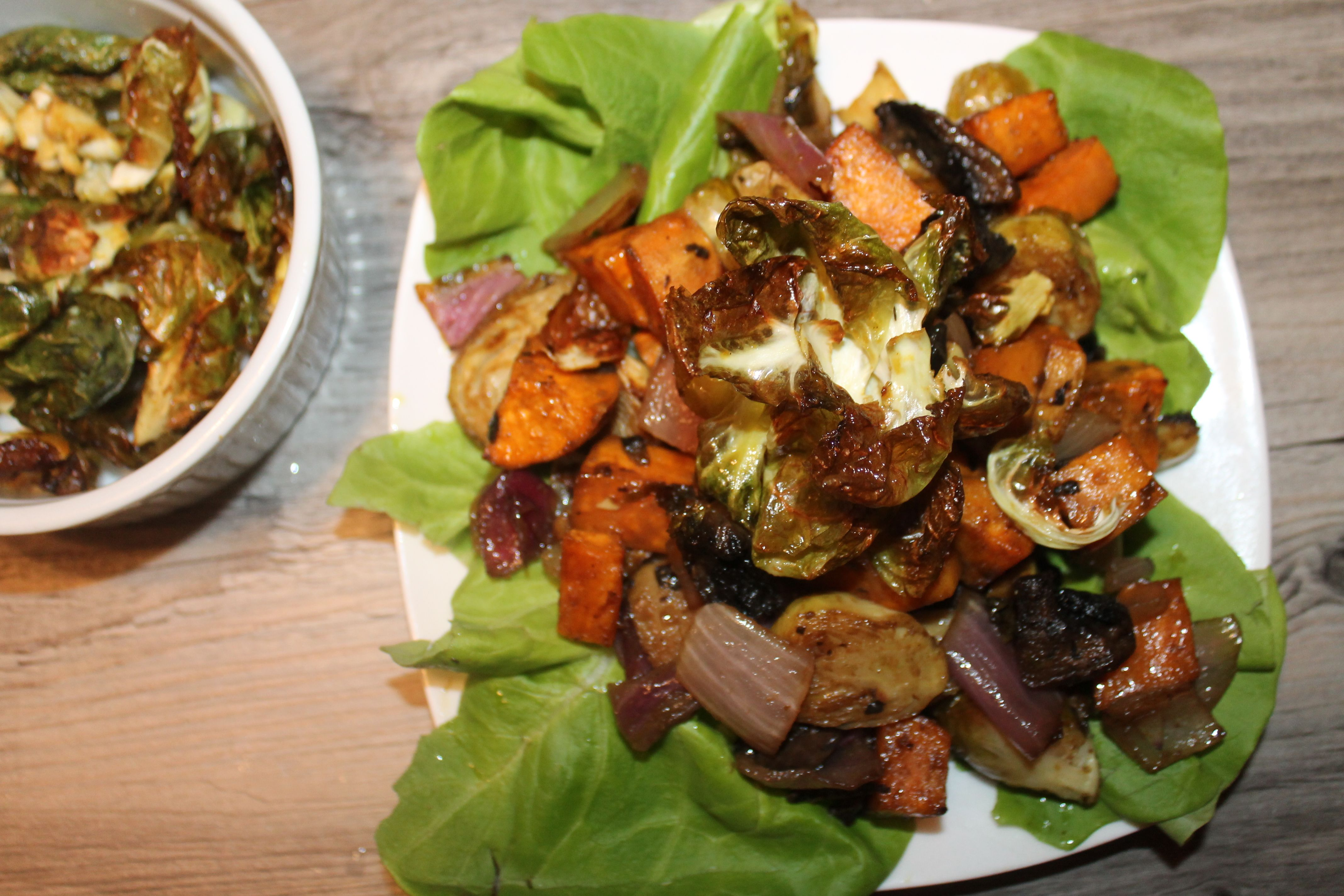 Smoky Mustard Maple Roasted Vegetables with Brussels Crisps | The Lazy Vegan Baker
