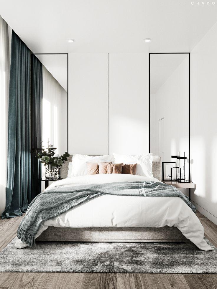 Modernes skandinavisches Schlafzimmer mit einer luxuriösen Note der Samtgewebe.... Modernes