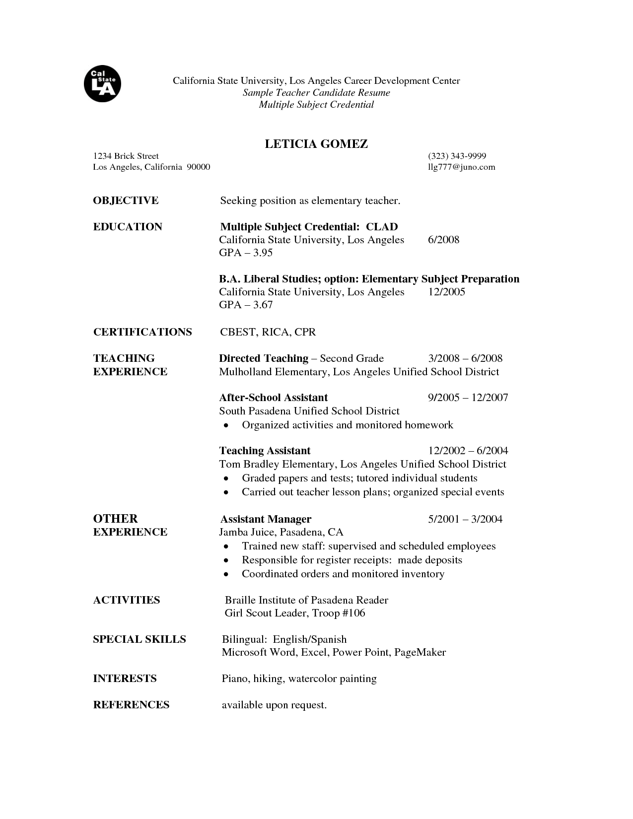Teacher Resume Examples Image Result For First Resume For Teacher Resume