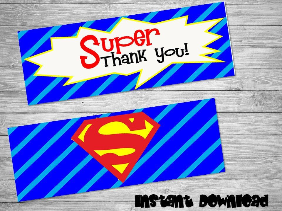 Superman bag toppers- DIY birthday bags - Superman Birthday Labels -  Superman Party Bag toppers- Printable Superman label by Chumelito on Etsy