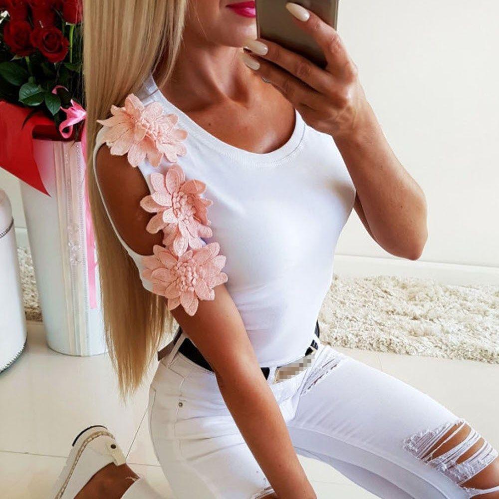 Women Lace Floral T-Shirt Top Ladies Summer Short Sleeve Slim Fit Blouse Tops