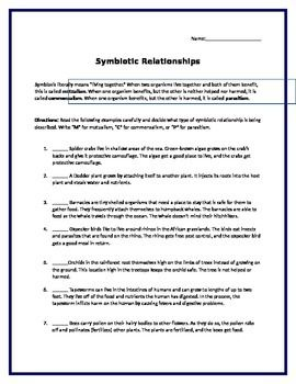 Symbiosis Practice Problems Symbiosis Free Science Worksheets Science Lessons High School
