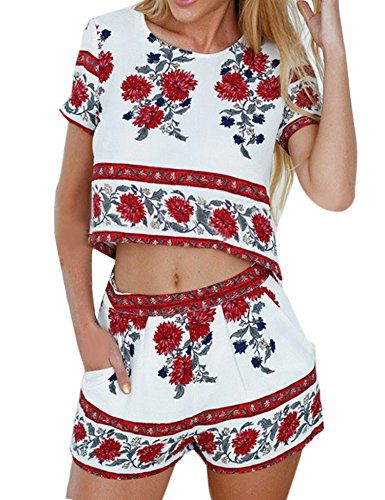 5ea9415a84d eshion Women 2 Pcs Floral Print Bohemian Crop Tops Shorts Set Two Piece  Outfit Suit (M, Red)