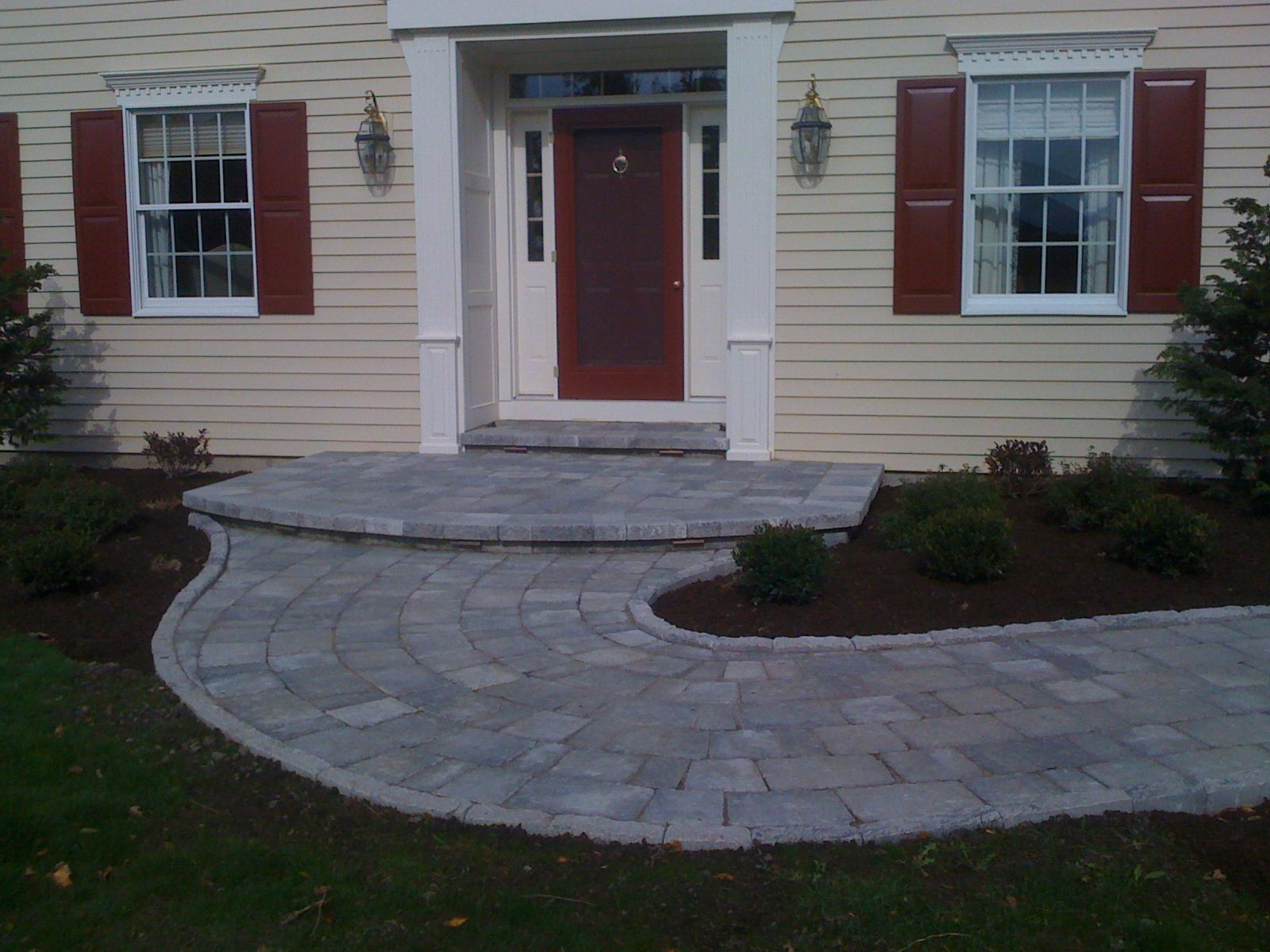 Stone Porches Front Porch And Turning Walkway