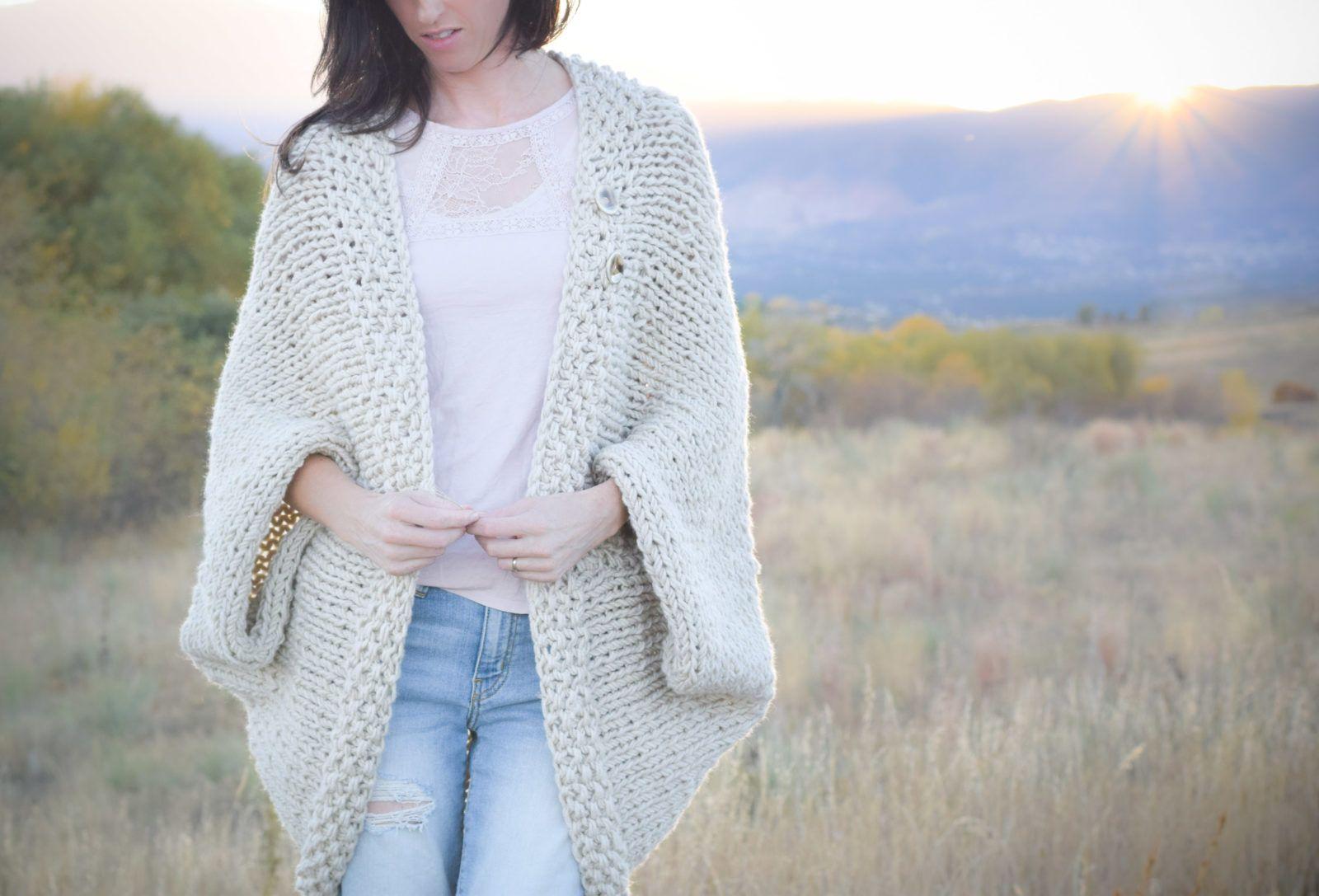 Easy Knit Blanket Sweater Pattern (Mama In A Stitch) | Heavy blanket ...