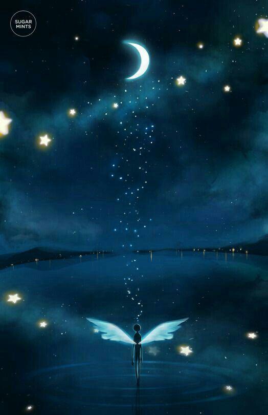 Good Night No Words Anime Scenery Moon Art Anime Art