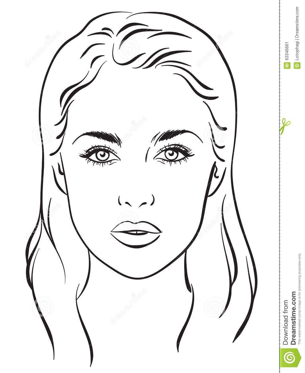 Beautiful Woman Portrait Face Chart Vector Illustration
