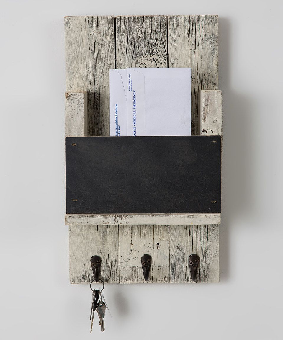 Mail Slot With Chalkboard u0026 Hooks by