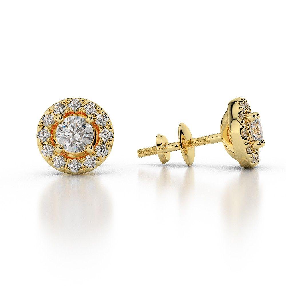 Gold Platinum Diamond Halo Earrings Ag Sons Uk Ltd