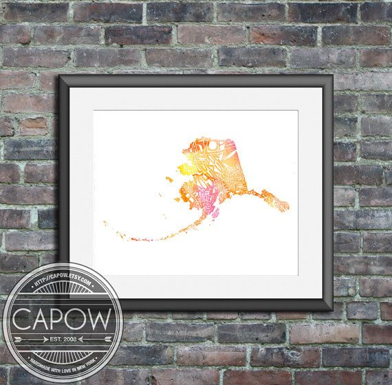 Alaska watercolor  typography map art print 11x14  state by CAPow, $35.00