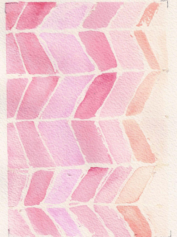Original Mixed Media Pencil And Watercolor Geometric Design 4x6