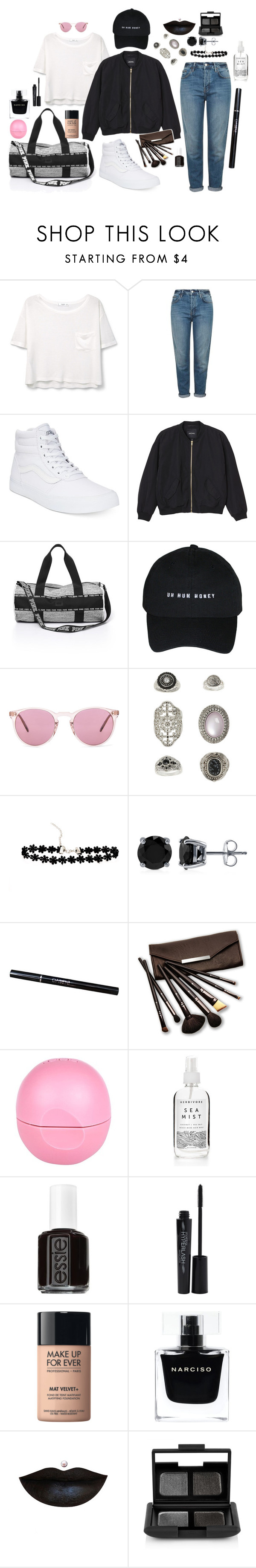 """""""A duffle regular"""" by jeannybinovia on Polyvore featuring MANGO, Topshop, Vans, Monki, Oliver Peoples, BERRICLE, Borghese, River Island, Essie and Smashbox"""