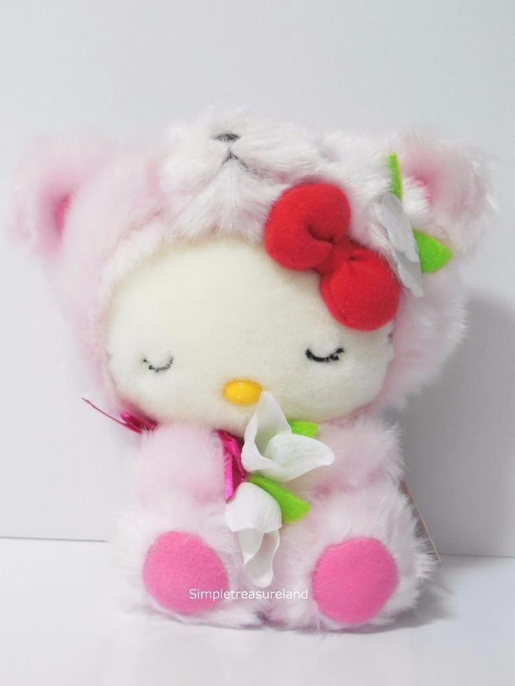 fd95cccd7e32 Sanrio Region Hokkaido Limited Pink Sleeping Bear Hello Kitty Plush ...