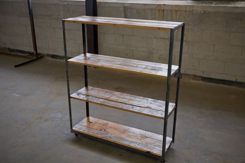 angle iron and reclaimed old-growth pine shelving unit  RX