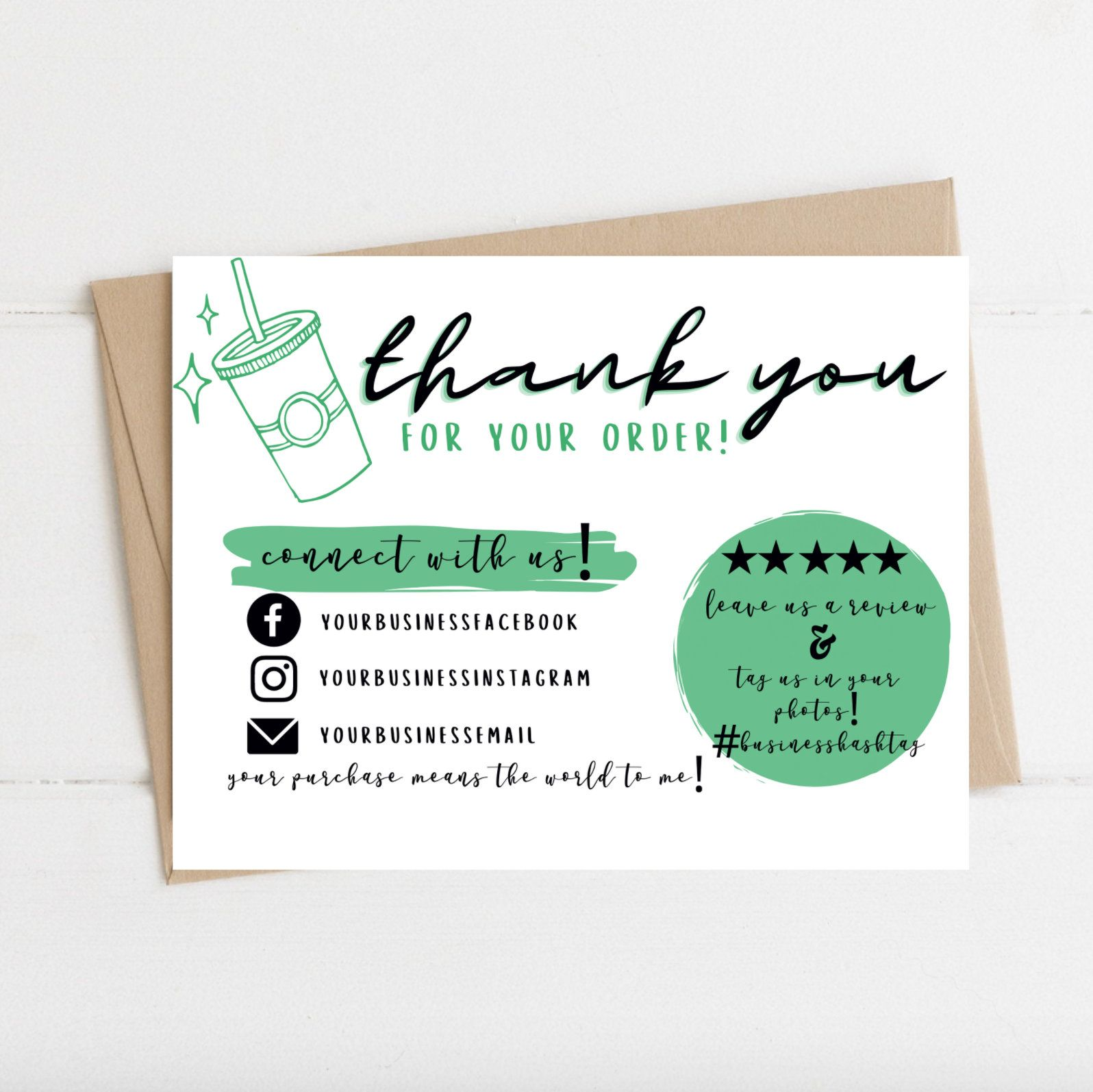 Instant Download Thank You Card For Tumblers Editable And Etsy Printable Thank You Cards Thank You Cards Thank You Card Template
