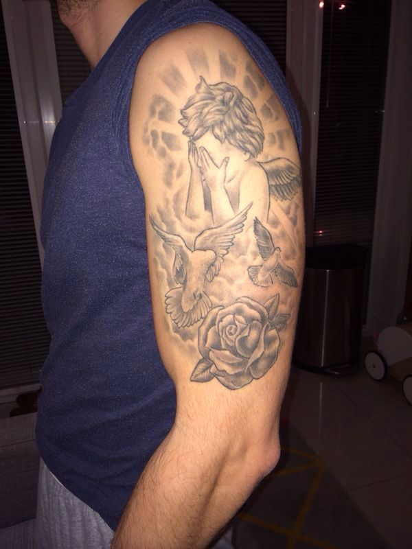 Crying Angel Half Sleeve Tattoo With Clouds And Doves Half Sleeve Tattoo Tattoos Sleeve Tattoos