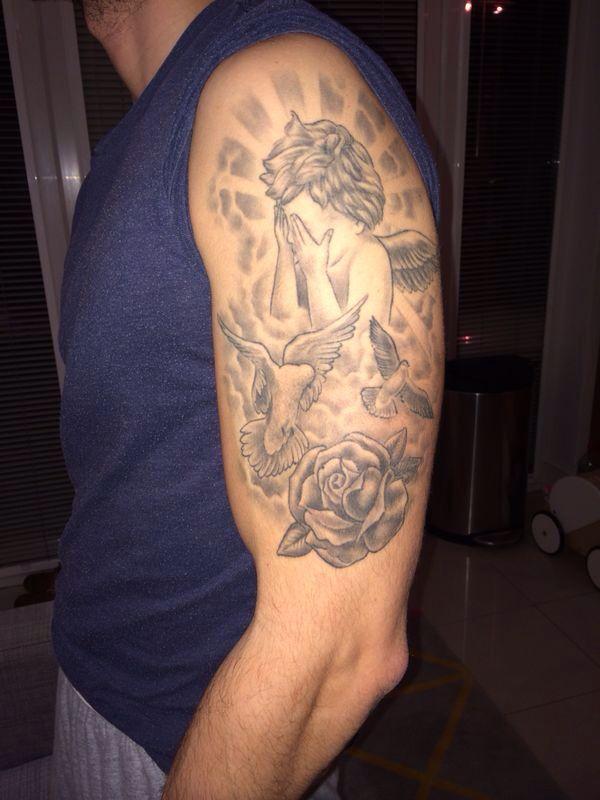 Dove Tattoos Half Sleeve Crying angel half slee...