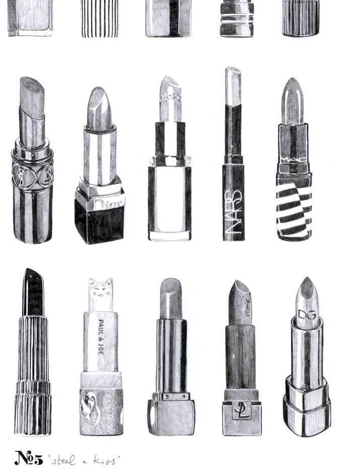 lipstick illustration black and white