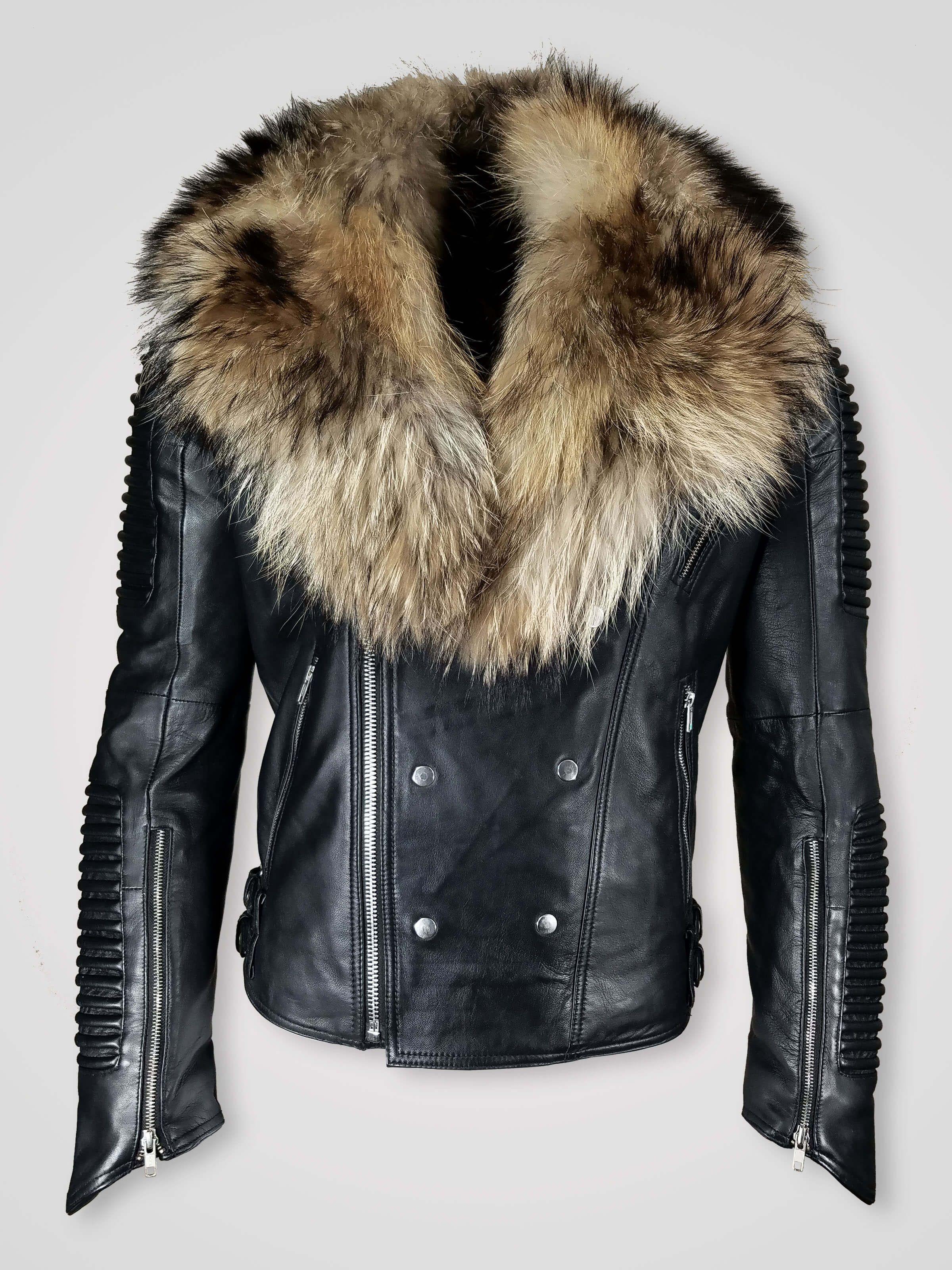Men S Motorcycle Biker Jacket With Detachable Raccoon Fur Collar In Black Fur Leather Jacket Leather Jacket Style Leather Jacket Men Style [ 3200 x 2400 Pixel ]