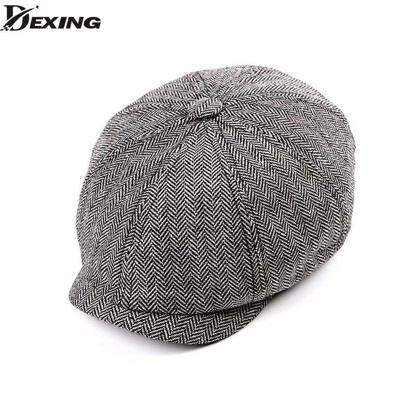 e560d305877 2018 new Tweed Gatsby Newsboy Cap Men autumn winter Hat for men Golf  Driving Flat cap