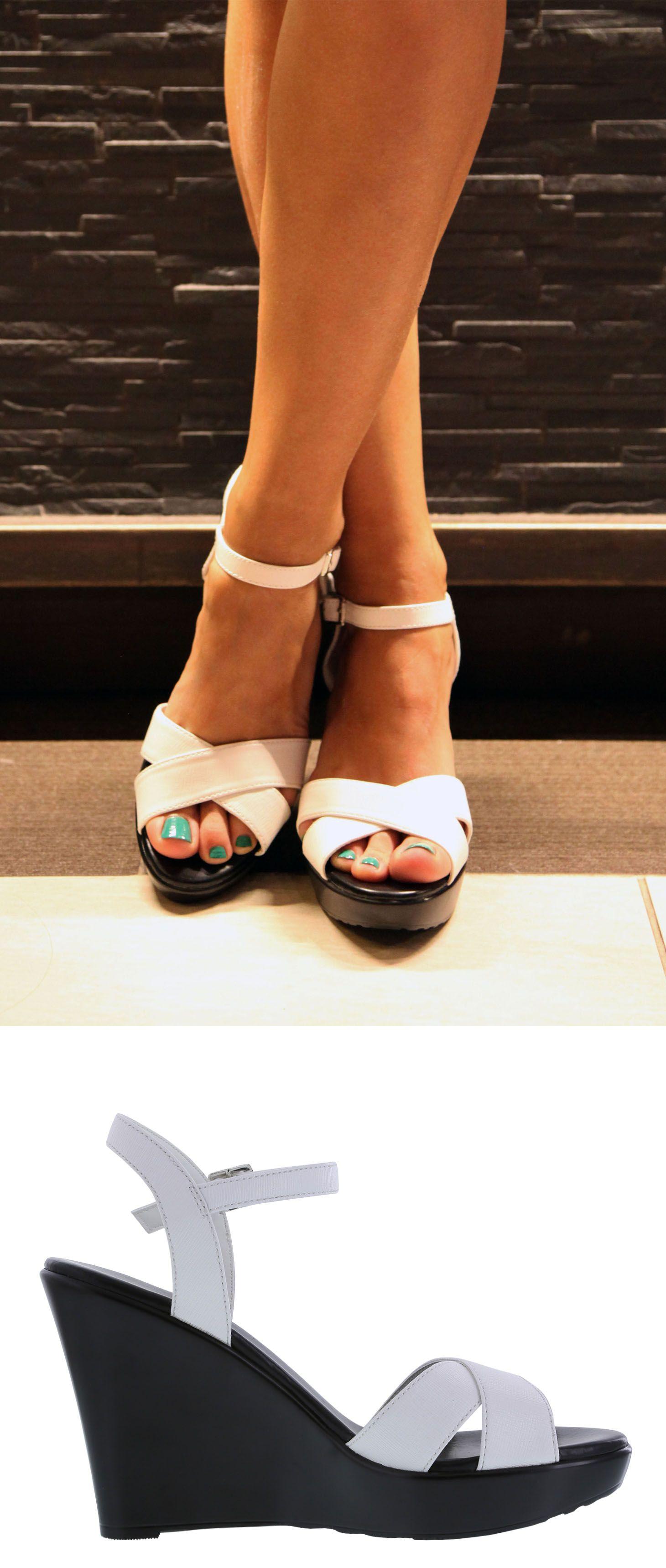0c0a04430b86 White Pina Wedge Sandal
