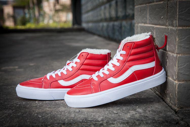 db81e1319b Vans SK8-Hi Red Leather Fleece Back Zip Winter Skate Shoes  Vans ...